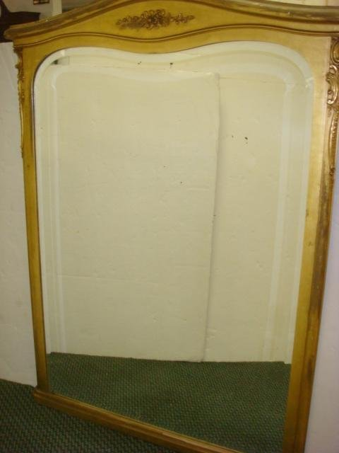 311: Gilt Framed Large Beveled Wall Mirror: