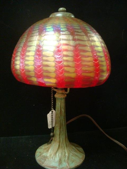 365: LUNDBERG Tree Trunk Lamp, Signed Art Glass Dome: