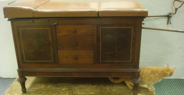 390: Vintage OBGYN Examining Table with Stirrups: