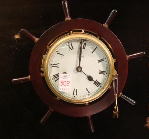 302: Vintage SCHATZ Ship's Wheel Clock with Key: