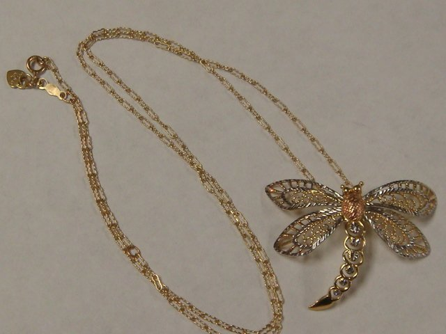 318: 10 K Yellow Gold Dragonfly Necklace on Chair:
