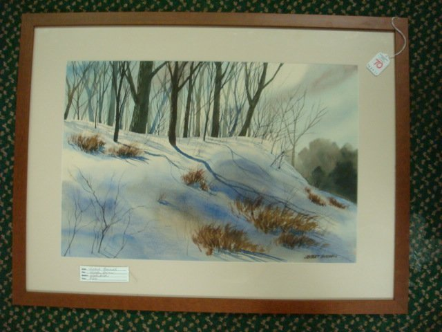320: Signed J ROBERT BURNELL Snowy Landscape Watercolor