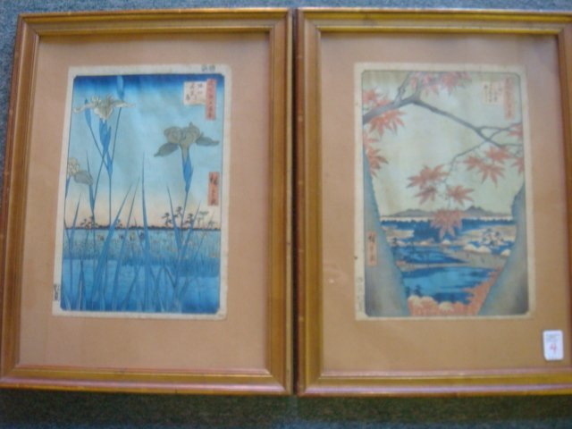 4: Two HIROSHIGE View of Edo Woodblocks, #94 and #56: