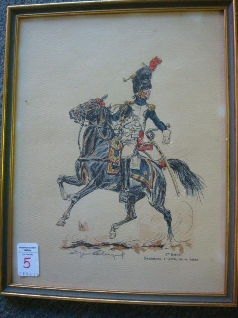 5: Pencil Signed Pen and Ink French Calvary Man: