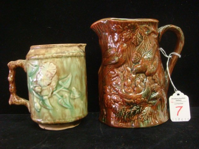 7: Two Vintage Majolica Pitchers:
