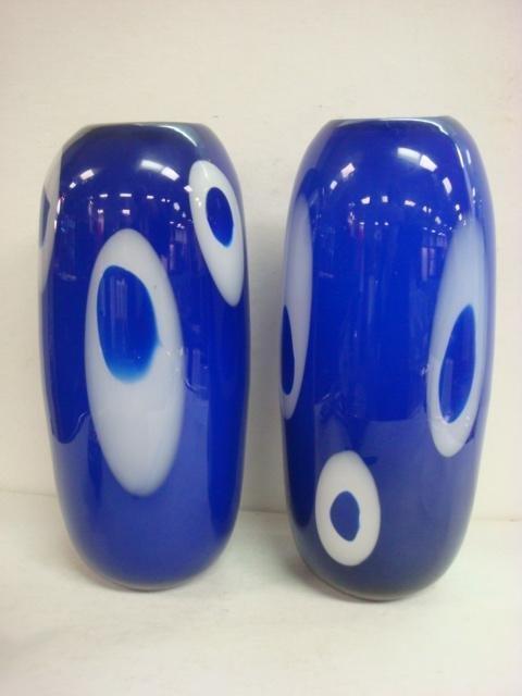 11: Tall Pair of Modern Cased Cobalt Glass Vases: