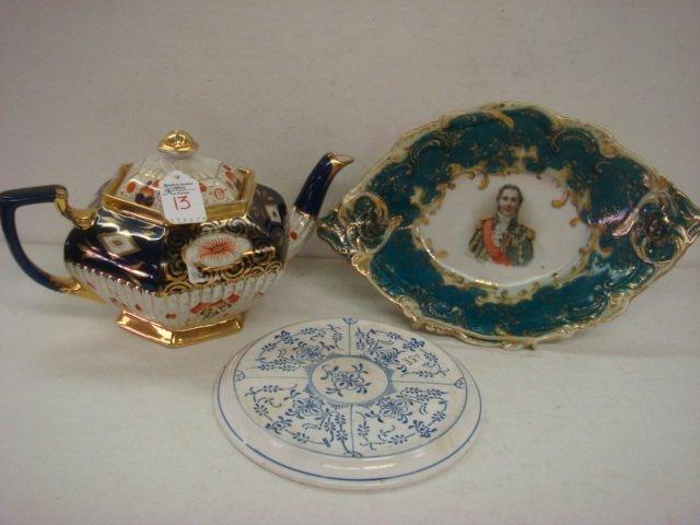 13: 19thC English Porcelain Teapot, Bowl, Trivet: