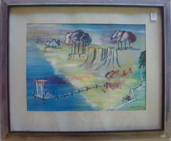 23: Signed JACK FRETWELL Pastel Landscape on Paper: