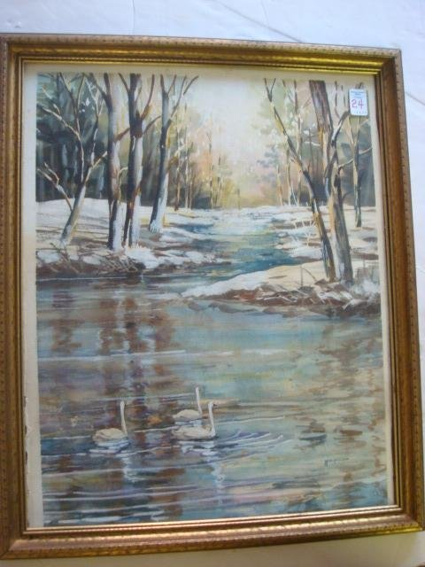 24: Signed TJ PETERSON Waterscape Watercolor on Paper: