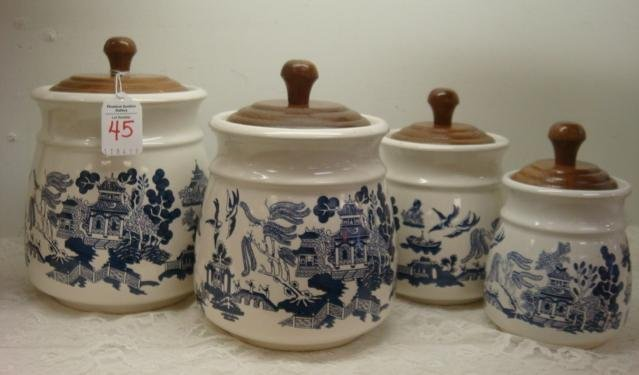 45 Blue Willow Pantry Collection 4 Piece Canister Set