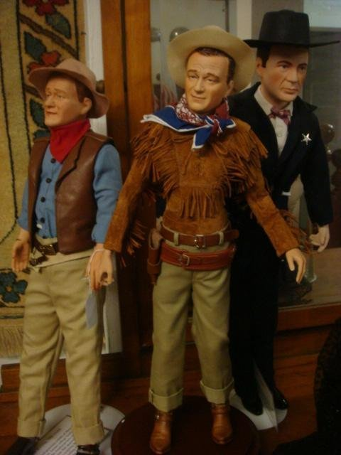74: John Wayne, Gary Cooper HP Porcelain Collector Doll