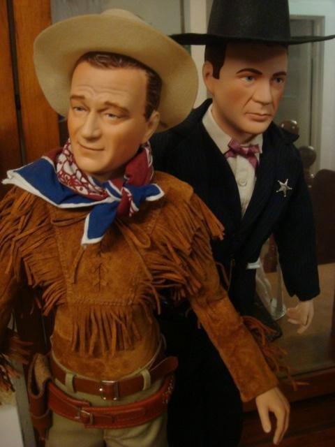 74: John Wayne, Gary Cooper HP Porcelain Collector Doll - 2