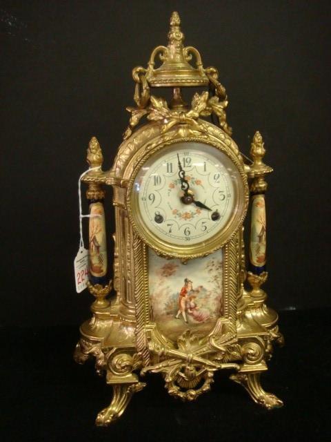 224: Ornate Brass Case and Enamel Shelf Clock with Key: