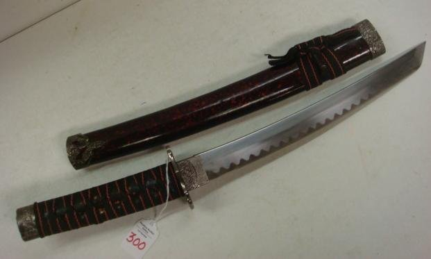 300: Small Samurai Sword with Painted, Wooden Sheath: