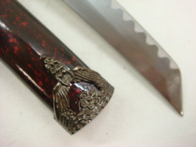 300: Small Samurai Sword with Painted, Wooden Sheath: - 3
