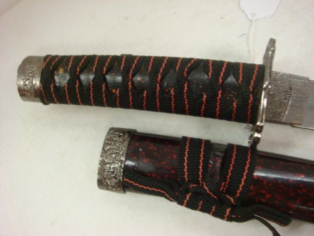 300: Small Samurai Sword with Painted, Wooden Sheath: - 4