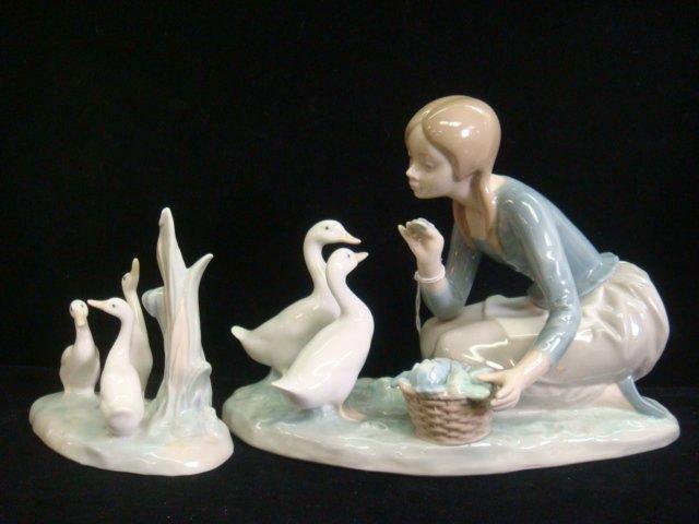 2: LLADRO Food For Ducks and NAO 3 Ducks Figurines: