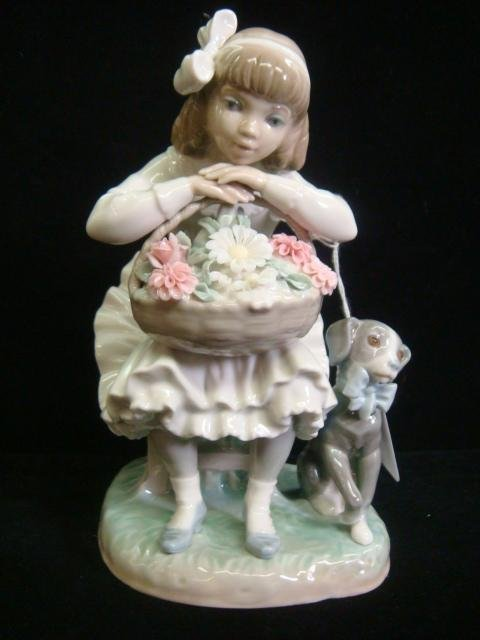 4: LLADRO Girl with Flowers and Dog #1088G Figurine: