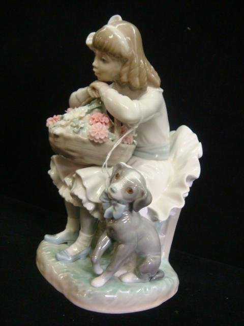 4: LLADRO Girl with Flowers and Dog #1088G Figurine: - 2