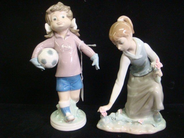 5: LLADRO Girl Gathering Flowers and Girl Soccer Player