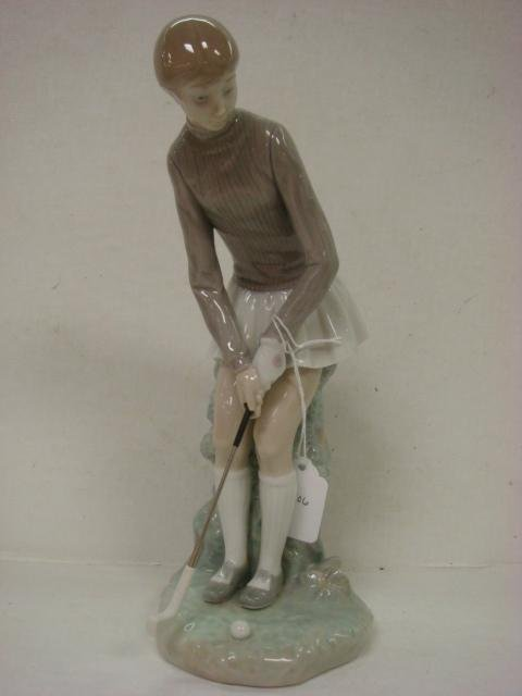 10: LLADRO Lady Golfer Porcelain Figurine # 4851: