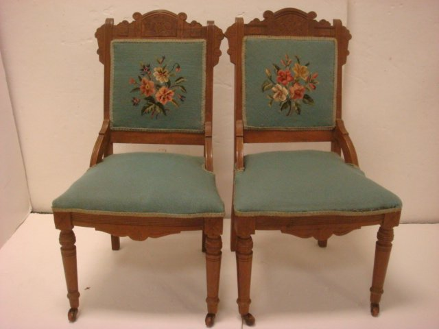 13: Pair of Walnut Eastlake Side Chairs: