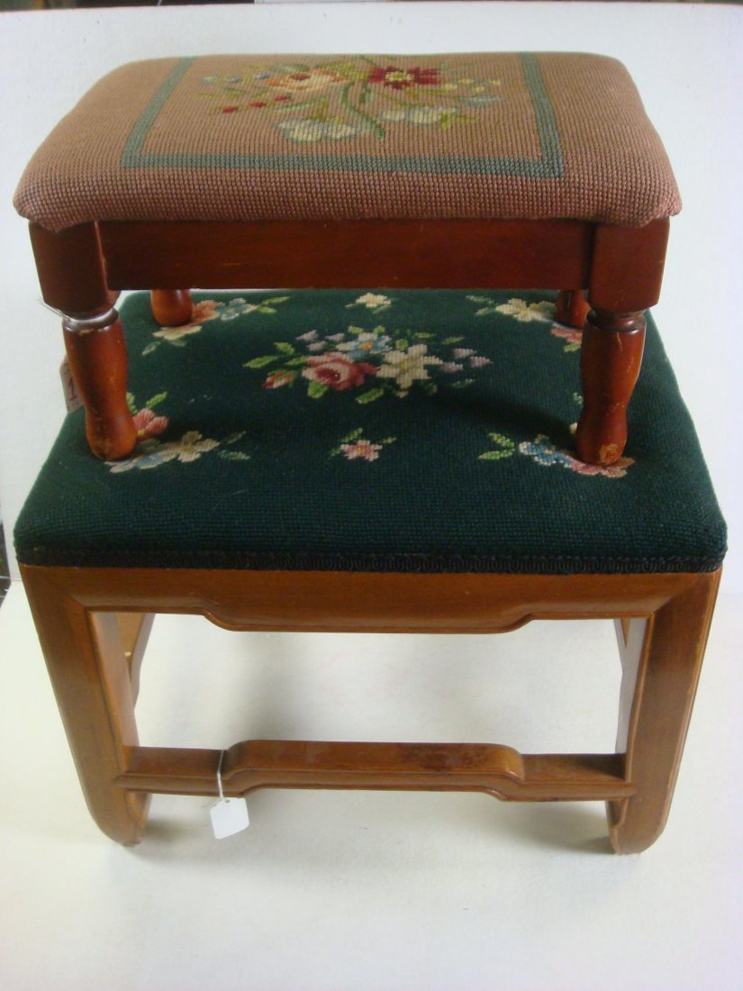 14: Two 20th C Needlepoint Foot Stools: