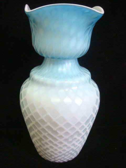 """16: Cased Diamond Quilt Mother of Pearl 10"""" Vase:"""