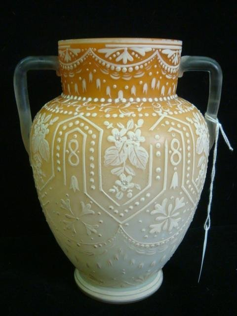 17: CA 1890 Cased Double Handled Webb Cameo Glass Vase: