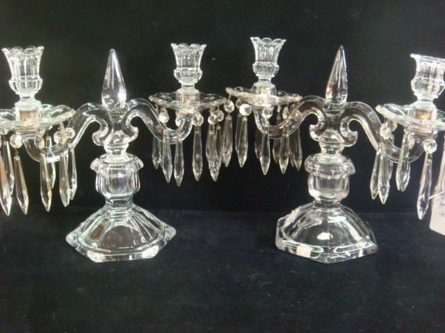 20: Pair of Double Arm Crystal Candelabra:
