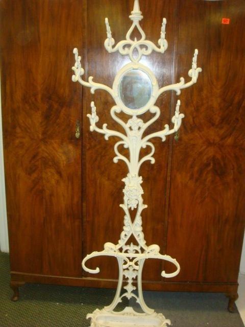 22: 19th C Cast Iron Hall Tree with Mirror: