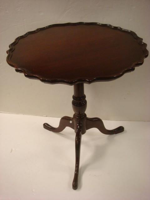 23: Mahogany Pie Crust Tripod Table: