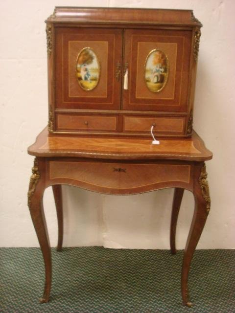 24: Lady's Louis XV Style Mahogany Desk with Plaques:
