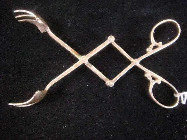 57: CARTIER Sterling Silver Ice Tongs, CA 1940: