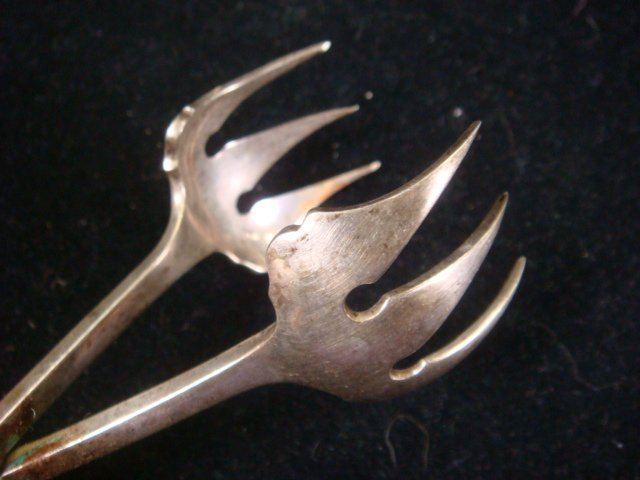 57: CARTIER Sterling Silver Ice Tongs, CA 1940: - 4