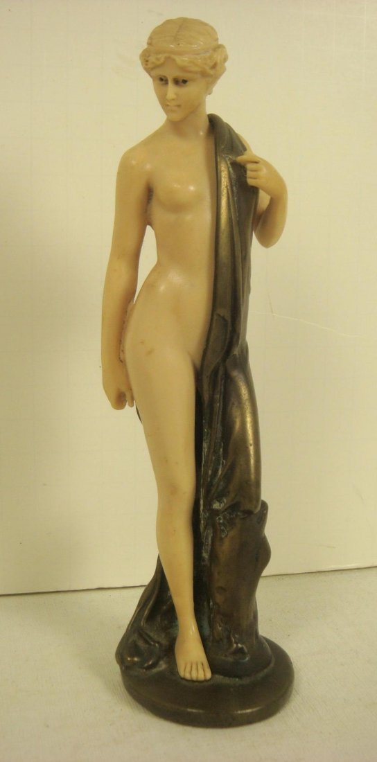 140A: Bronze & French Ivorine Semi-Nude Female Figure: