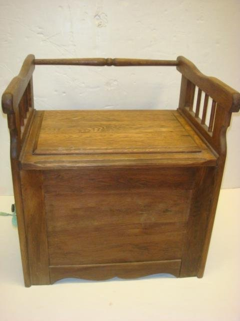 185: Antique Oak Commode/Potty Chair with Arms: