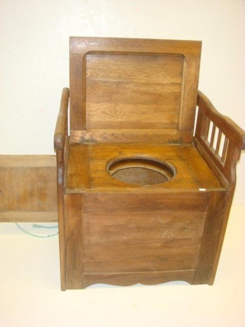 185: Antique Oak Commode/Potty Chair with Arms: - 2