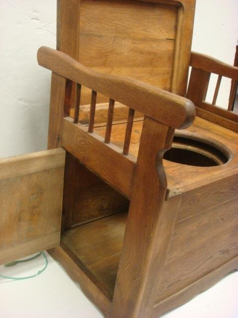 185: Antique Oak Commode/Potty Chair with Arms: - 3