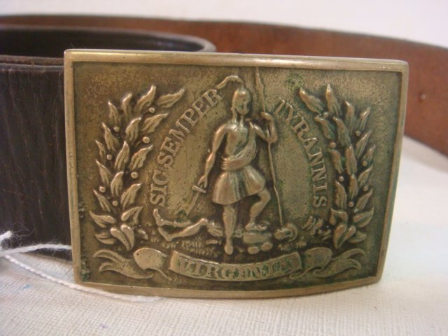 "376: Virginia ""Sic Semper Tyrannis"" Belt Buckle & Belt:"