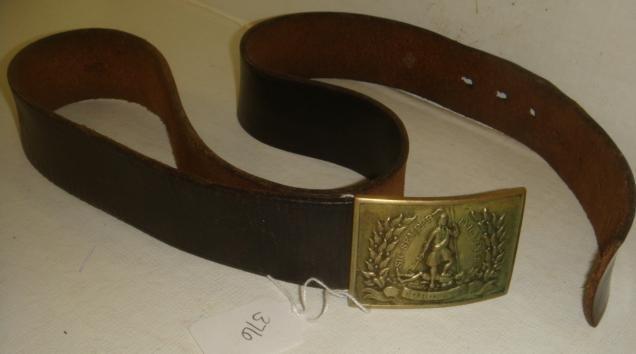 "376: Virginia ""Sic Semper Tyrannis"" Belt Buckle & Belt: - 3"