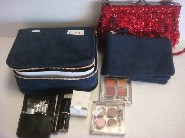 3: LANCOME Beaded Bag, Estee Lauder Makeup: