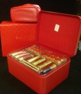 Red Satchel Bag, ESTEE LAUDER Travel Box/Makeup: