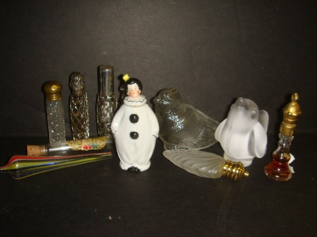 13: Bisque Clown and Lay Down Glass Perfume Bottles, Bi