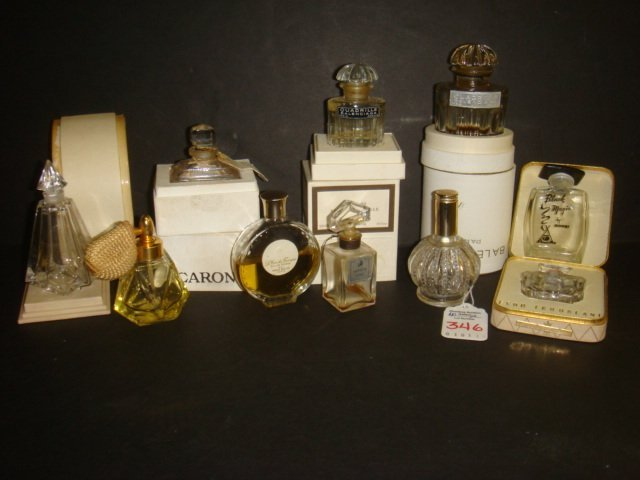 15: Ten French Small Perfume Bottles, 5 with Boxes:
