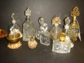 Ten Assorted Glass Perfume Bottles With Metal:
