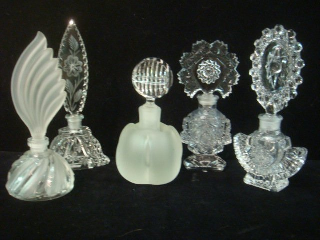 20: Five Cut and Pressed Glass Perfume Bottles: