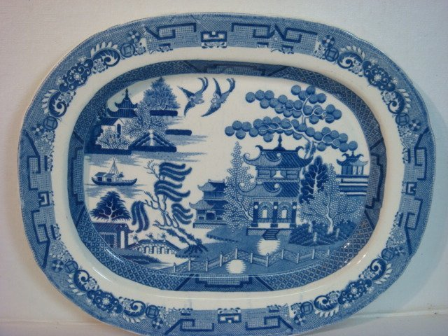 24: Vintage Blue Willow Ironstone Platter:
