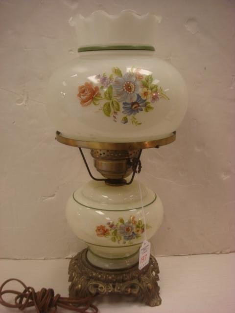 197: Handpainted Double Globe Victorian Style Lamp:
