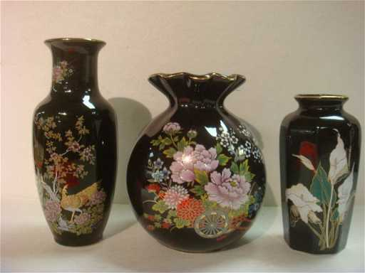 216 Three Black Japanese Vases